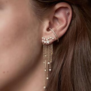 Women Fashion Star Crystal Chain Tassel Pendant Earrings Lady Wedding Party Charm Gold Silver Ear