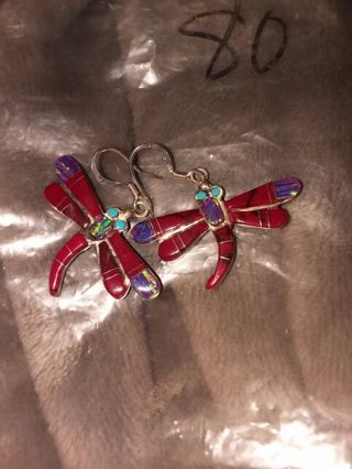 New Beautiful dragon fly double sided earrings with opal earrings with opal, turquoise and more!!!