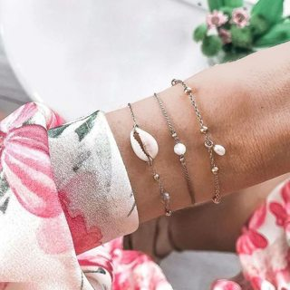 3 Pcs/set Sea Shell Charm Beads Bracelet Set for Women Bohemian Multiple Styles Handmade Cuff Bangle