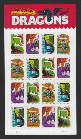 2018 DRAGON Forever Stamps (16) Sheet, MNH/XF, Scott #5310a, current value $8.80