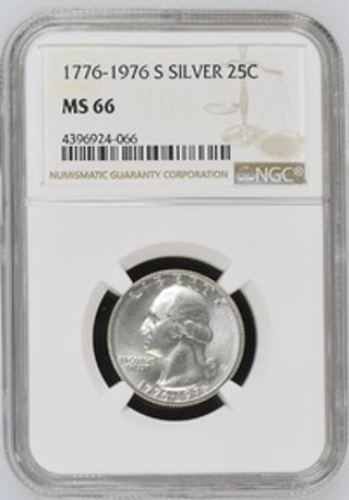 NGC 1976-S MS66 Bicentennial Washington Quarter - 40% Silver