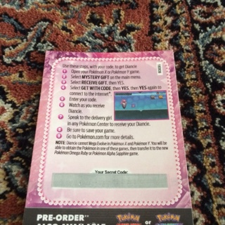 Free: Diancie code pokemon x and y - Video Game Prepaid Cards