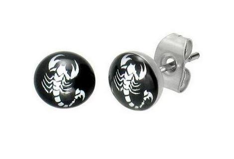 NEW SCORPION stud earrings Scorpio starsign zodiac unisex, one pair goth emo punk GIN Fast shipping