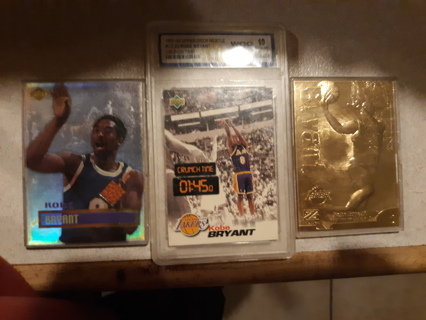 3 rare Kobe Bryant gem mint10 rookie, gold card, both prestine & game used ball card(fair condition)
