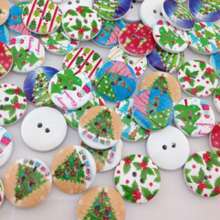 50PCs Santa Merry Christmas Tree Wood Buttons Sewing Mix Lots