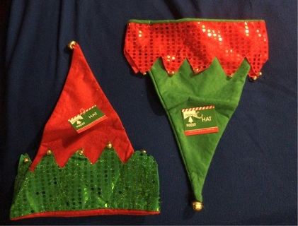 "Brand New: Two Green and Red Christmas ""Santa"" Hats With Bells!!!"