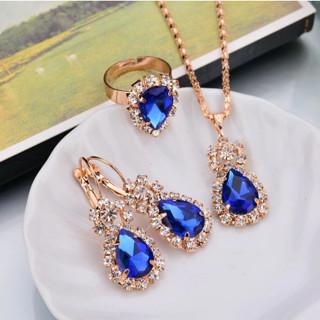 Water Drop Earrings Red Jewelry Set Rhinestones For Women Pendant Necklace/Earrings/Rings