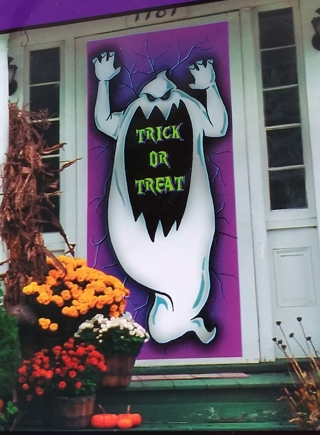 HALLOWEEN GHOST DOOR COVER DECORATION HOME DECOR 30 INCHES X 72 INCHES
