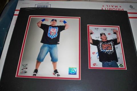 17.5x13 signed matted photo of WWE star John Cena