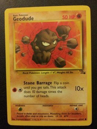 Geodude Fossil Set Pokemon Card Near Mint Condition