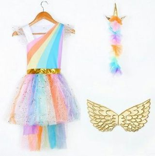 Unique Girls' Deluxe Rainbow Unicorn Costume For Halloween Party Everyday Gift