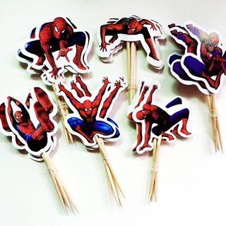 24Pcs Cartoon Spiderman Cupcake Toppers Picks Kids Birthday Party Decoration