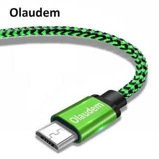Olaudem Micro USB Cable 2m 3m Nylon Braided Charging For Samsung USB Cable For Android Data Cable