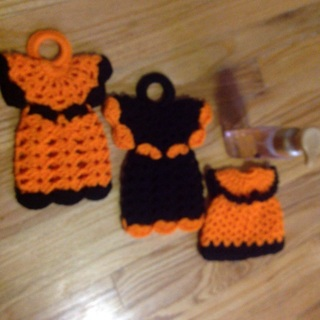 """Pair of 10x7"""" Angel Potholders and One Liquid Hand Soap Dress."""