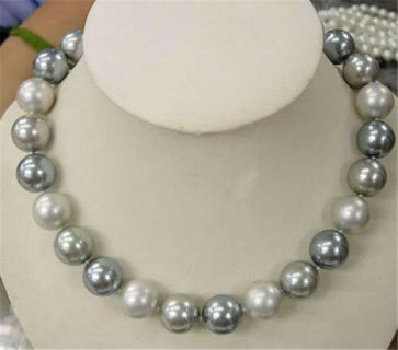 """PRETTY 12MM GRAY/WHITE ROUND SOUTH SEA SHELL PEARL NECKLACE18"""""""