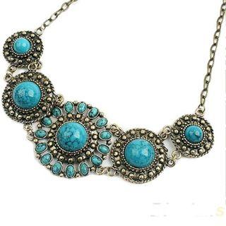 BN Bohemian Blue Turquoise Pendant Necklace