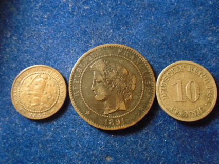1882 1888 & 1891 OLD WORLD COINS...FULL DATES!