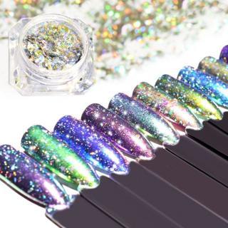 1pcs Holo Aurora Charm Chameleon Gradient Nail Art Glitter Powder Dazzling Pigment Flakes Sequins