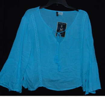 Gorgeous Bell Sleeve Blue Tunic Blouse Gypsy Top Size LARGE