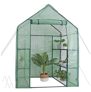 30% DISCOUNT!! Mini Walk-in Greenhouse 3 Tier 6 Shelves with PE Cover and Roll-Up Zipper Door