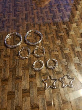 Hoop Earrings` Set of four (4) Silver tone