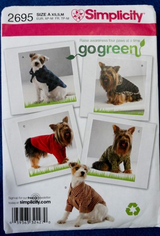 Free: SIMPLICITY 2695 Sewing Pattern Recycle Clothing For Your Dog ...