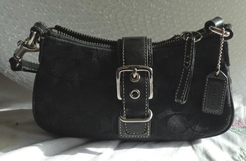 Cute Very Small Black Canvas Leather C Signature Coach Handbag Purse