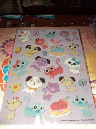★☆★☆1 BRAND NEW SHEET OF CATS & DOGS GOOGLY EYED STICKERS★☆★☆25 STICKERS TOTAL!+(BONUS STICKERS)