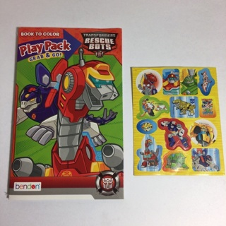 Transformers Rescue Bots Coloring Book and Stickers! Free Shipping!
