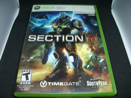 Section 8 (Microsoft Xbox 360, 2009) sci-fi shooter, complete with manual, acceptable condition
