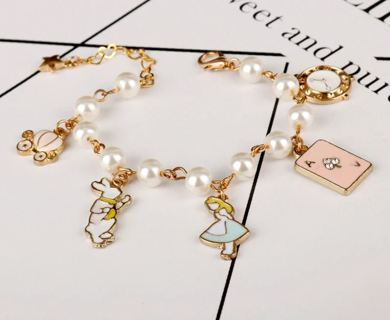 [Jewelry] Alice in Wonderland Disney Charm Movie Gold Plated Chain/Bracelet for Girl/Lady Gift