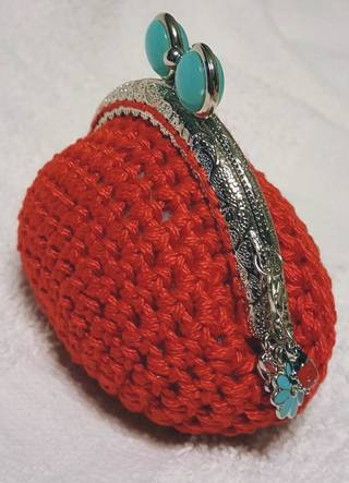 """CROCHET COIN PURSE   MEASURE 4"""" TALL 4 INCH WIDE MADE WITH 100% COTTON"""