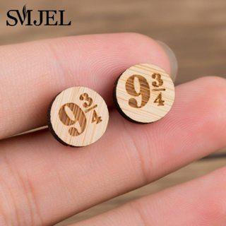 SMJEL Movie Deathly Hallows Harry P Stud Earrings Platform 9-3/4 Earrings Wooden Jewelry Magic