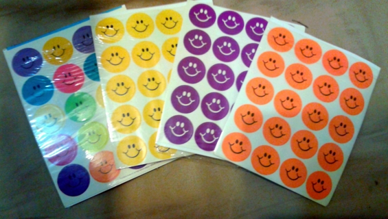 100 Smiley Face Stickers - Asst Colors *FREE SHIPPING!