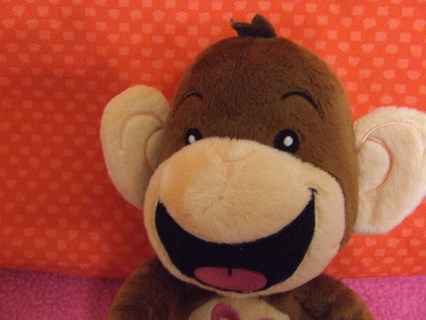 Free Limited Too Brown Monkey Velcro Hands Blue Flower Stuffed
