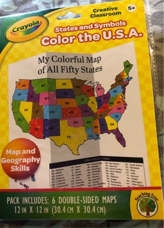 """BNIP Six """"CRAYOLA"""" Colorful Learning Creative Classroom 12""""x12"""" Double Sided Maps. Study Geography"""