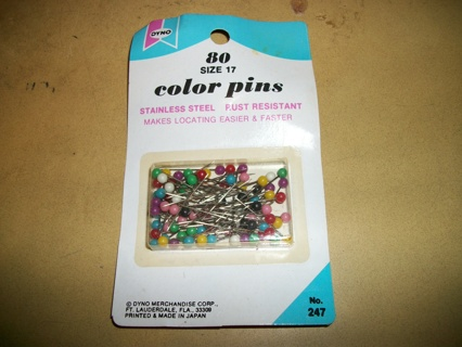 80 Colorful Pushpins, Push Pins Pushpin Pin Tacks MIP Unused Sealed Stainless Steel Rust Resistant