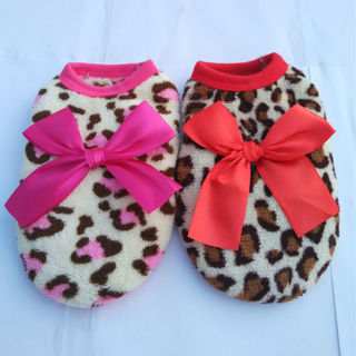 Pet Dog Winter Clothes Warm Fleece Shirt Hoody Leopard Costume Apparel Xmas Funn