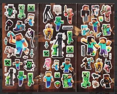 NEW MINECRAFT Puffy Stickers thick vinyl bubble stickers sheets FREE SHIPPING