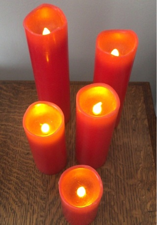 5 red battery operated candles