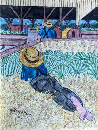 Amish At The Market Watercolor Print 9 X 12