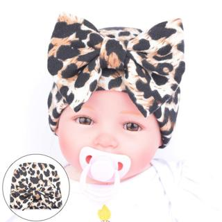 Children's Winter Hat Toddler Baby hats for girls Leopard Big Bowknot Cotton Newborn Hospital Caps