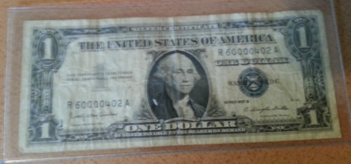 Free: 1957 One Dollar Silver Certificate Blue Seal Series B(Awesome ...