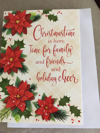 CHRISTMASTIME IS HERE CARD WITH ENVELOPE
