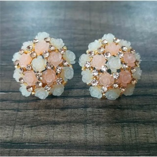 Pink and White Roses Earrings