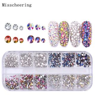 1 Pack Shiny Crystal Nail Art Rhinestone Decorations Mixed Size And Colors Flat-back Glass Gems Fo