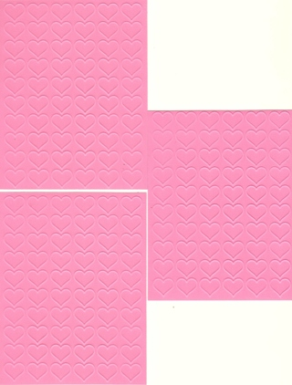 Pink Embossed Card Fronts - Valentine Hearts - set of three