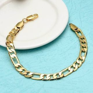 [GIN FOR FREE SHIPPING] Bracelet 18K Yellow Gold Filled 8in Chain 6mm Link
