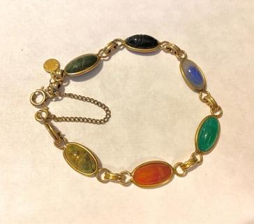 Vintage, Scarab Bracelet with real stones