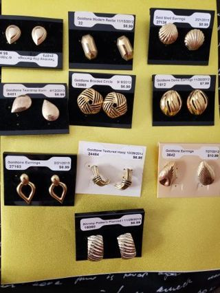 10 Vtg Goldtone Earrings